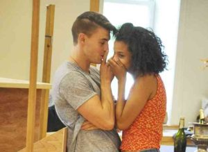 "Andrew Veenestra (left) and Ayana Workman practice their starring roles in the Shakespeare Theatre Co.'s upcoming ""Romeo & Juliet."" (Photo: Ruthie Rado)"