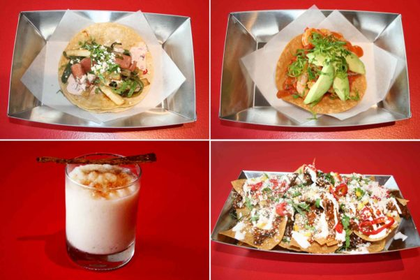 New dishes at the Vienna  restaurant include the Vienna Vape Shop taco (clockwise from top left), the shrimp coctel tostada, the fungi fundido nachos and the spike horchata. (Photos: Mark Heckathorn/DC on Heels)