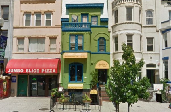 The Georgetown wing restaurant Wingo's will replace Little Fountain Cafe and Angels Bar (green building) in Adams Morgan. (Photo: Google)