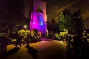 The  Enid A. Haupt Garden and Smithsonian Castle light up tonight for the Glow in the Garden party. (Photo: Kate Warren)