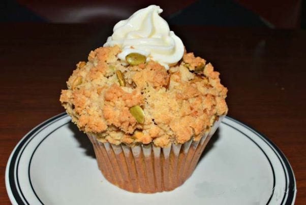 Mimi's is also serving pumpkin muffins with cream cheese icing and pumpkin seeds for fall. (Photo: Mark Heckathorn/DC on Heels)