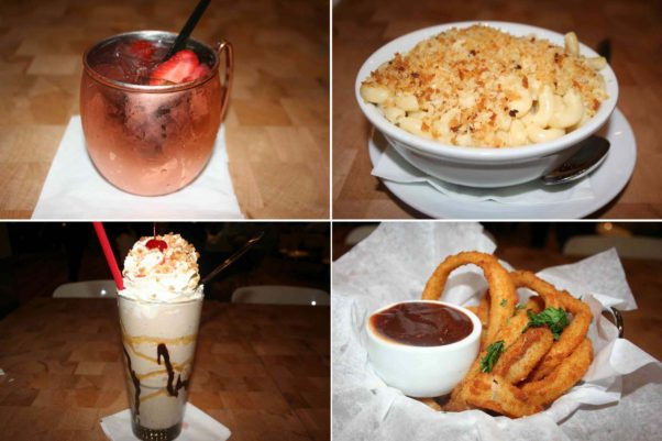 Zinburger's cocktails, sides and desserts includes the strawberry mule (clockwise from top left), mac & cheese with toasted panko bread crumbs, onion rings and a Banana Royale milkshake. (Photos: Mark Heckathorn/DC on Heels)