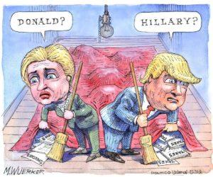 Art Soiree's Hillary vs Trump Cartoon Debate is at the Ritz-Carlton in Georgetown from 8 p.m.-midnight Friday. (Cartoon: Matt Wuerker/Politico)