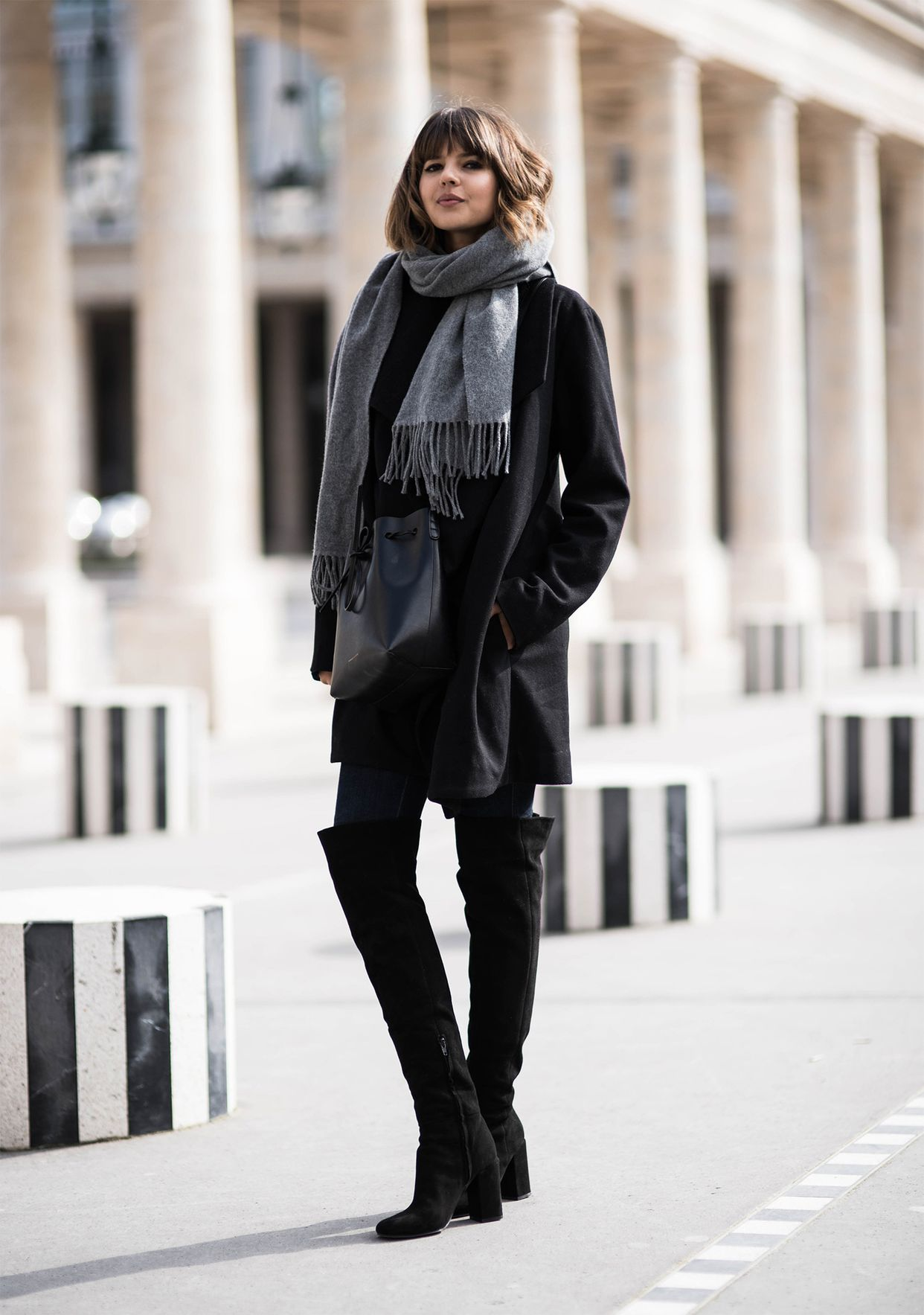 This wool blazer and chunky scarf will keep you warm. (Photo: Rohan Peterson/Badlands)