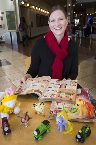 """There are a lot of gender and racial stereotypes at the core of children's toys today, and that affects children on a couple of different levels,"""" says lecturer Elizabeth Sweet. (Jessica Vernone/Sacramento State)"""