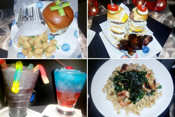 Dave & Buster's menu include a Buffalo Wing Burger (clockwise from top left) topped with chicken tenders tossed in buffalo sauce, blue cheese and frazzled onion rings; the Caveman Combo with St. Louis-style ribs and four sliders; tendrlion & bacon-wrapped shrimp over tomato cream pasta; and a  Grape Candy Chill non-alcoholic snow cone and the original alcoholic snow cone. (Photos: Mark Heckathorn/DC on Heels)