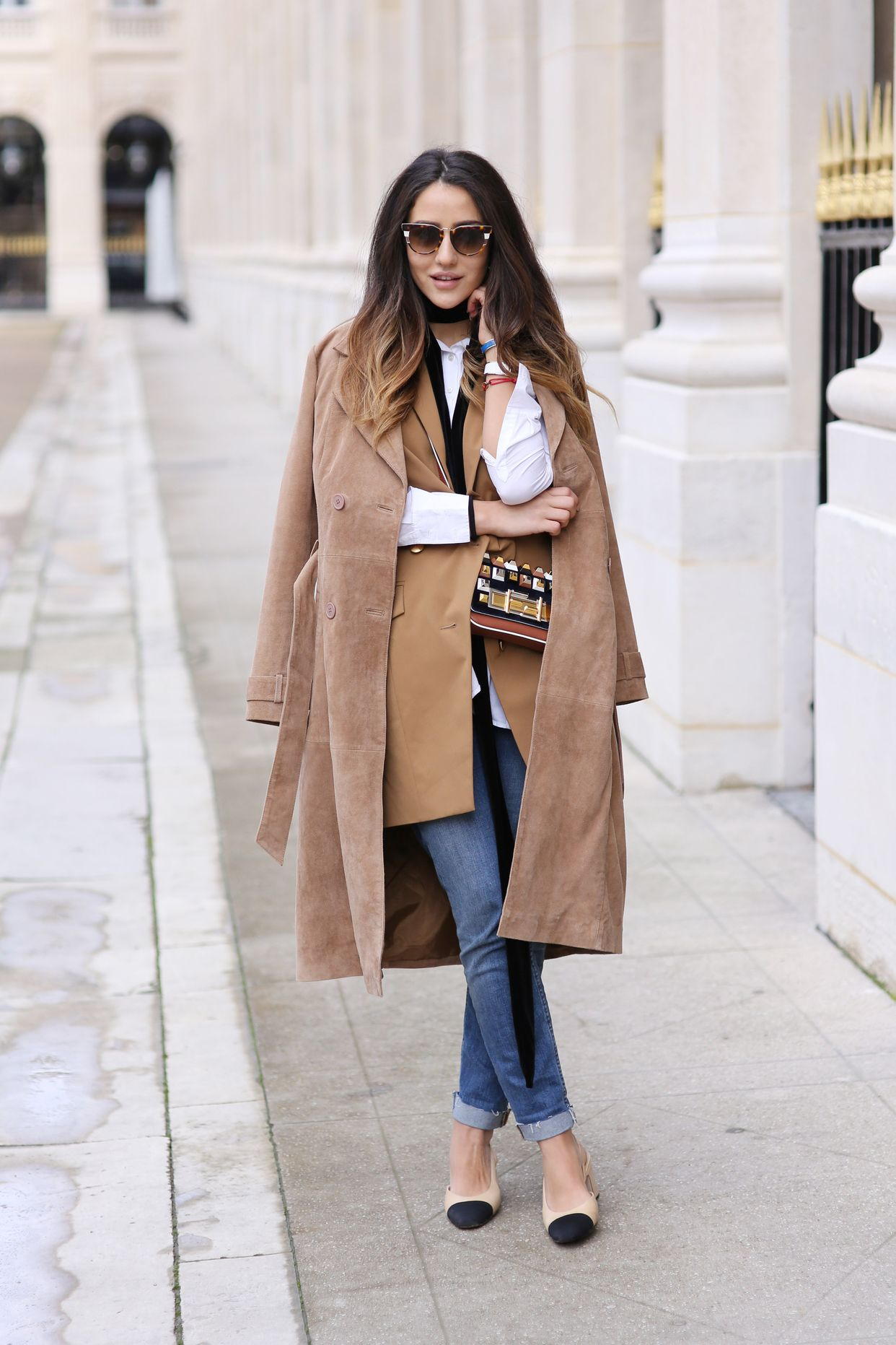 Layer a suede jacket ofver a camel blazer for extra warmth. (Photo: Glam & Glitter)