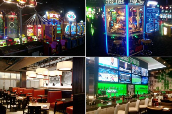 Dave & Buster's in Silver Spring includes a carnival-style midway (clockwise from top left), a Star Trek game found only at the chain, a sports bar with large HDTVs and a dining room with local art. (Photos: Mark Heckathorn/DC on Heels)