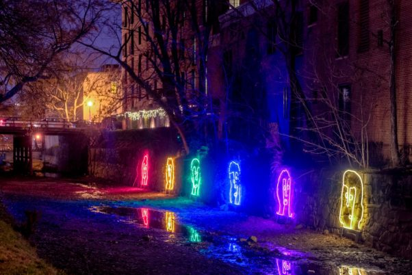 Georgetown Glow features eight outdoor public light art installations including Canal People (pictures above). (Photo: Sam Kittner/Georgetown BID)