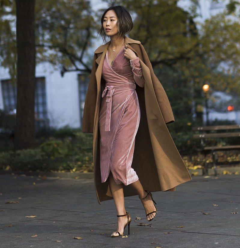 Keepsake pink velvet dress and Jimmy Choo velvet heels. (Photo:  Song of Style)