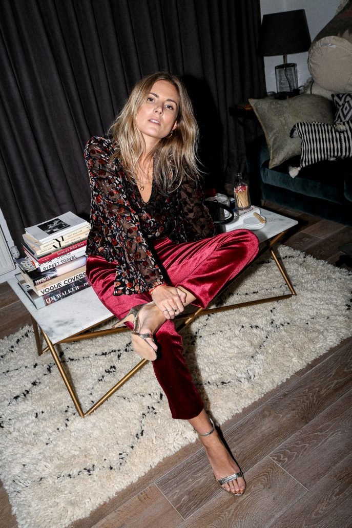 Claret-coloed tailored velvet pants, top  and gold heels from Topshop. (Photo:: Lucy Williams)