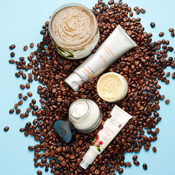 Beauty products with caffeine claim to plump and firm your skin by energizing it. (Photo: RachelRayMag.com)