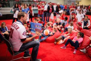 Max Sherzer reads a story to children at last year's Nationals Winterfest. (Photo: Washington Nationals)