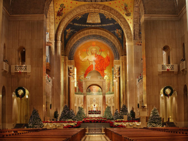 The Basilica of the National Shrine features more than 50 Christmas trees, 65,000 lights, halls decked with 500-plus poinsettias and two manger scenes (Photo: Basilica of the National Shrine of the Immaculate Conception)