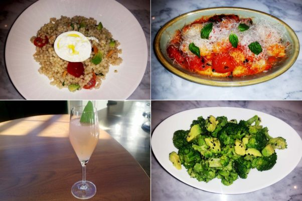 The menu includes Isreali couscous salad (clockwise from top left) with avocado, cherry tomatoes, basil, almonds and burrata; gnocchi with cherry tomato sauce; broccoli and avocado with black sesame and Dijon vinaigrette; and the Pompelmo with mezcal, grapefruit, ginger and corriander. (Photos: Mark Heckathorn/DC on Heels)