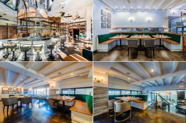 The restaurant includes a seperate bar (top left) and two levels of dining room. (Photos: Rey Lopez)