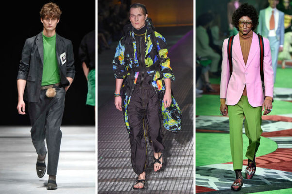 """Greenery"" showed up in mens fashion on the spring 2017 in the Robert Geller (l to r), Prada and Gucci collections. (Photos: Firstview/Getty/Firstview)"