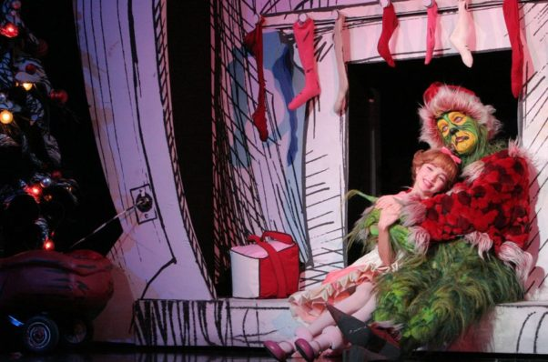 """The Grinch and Cindy Lou Who in """"How the Grinch Stole Christmas! The Musical"""" at the National Theatre this weekend. (Photo: Grinch the Musical)"""