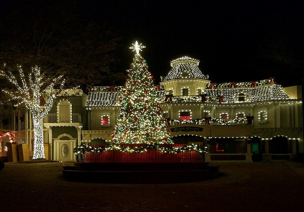 six flags american is decorated with millions of lights for christmas and is open weekends through