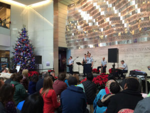 Visitors listen to a band perform at the National Museum of American History during a prvous Smithsonian Holiday Festival. (Photo: National Museum of American History)