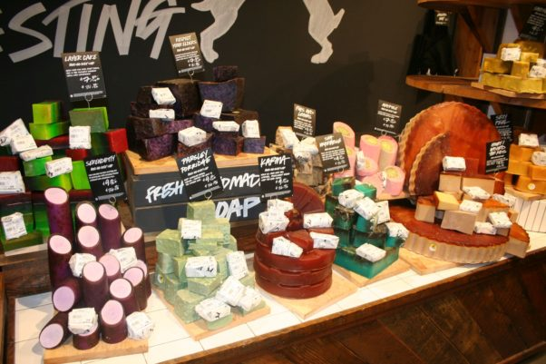 Lush soaps come in a variety of shapes and scents that are cut to order in the sise you want. (Photo: Mark Heckathorn/DC on Heels)