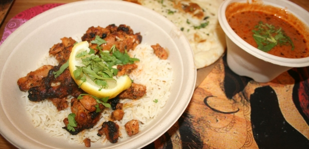 chicken bbq with tika masala and naan at Choolaah by Mark Heckathorn