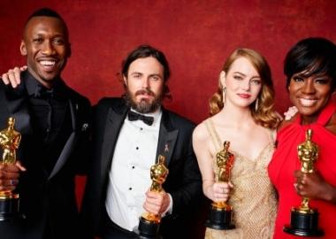 Oscar winners Mahershala Ali (l to r), Casey Affleck, Emma Stone and Viola Davis. (Photo: A.M.P.A.S.)
