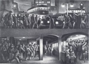 """""""The People Work - Evening"""" by Benton Spruance is part of The  Urban Scene: 1920-1950 at the National Gallery of Art. (Photo: National Gallery of Art)"""