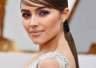 Olivia Culpo's purple rimmed eyes was done with a L'Oréal product. (Photo: Getty Images)
