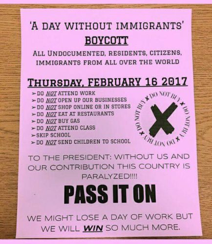 Many area restaurants will close or offer limited service Thursday in support of the Day Without Immigrants boycott. (Photo: Facebook)