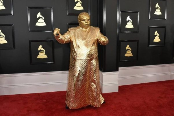 Cee Lo Green attended the 52nd Grammy Awards like a cross between the Tin Man and a Ferrero Rocher candy. (Photo: Jordan Strauss/Invision/AP)