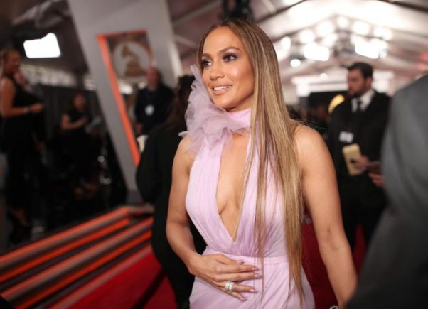 Jennifer Lopez rocked a lavender Ralph & Russo gown at this year's Grammys. (Photo: Christopher Polk/Getty Images)