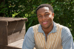 Jamar Jones portrays James Lafaeyette, a double agent in the Revolutionary War, in a one-act play at the International Spy Museum on Saturday. (Photo: Colonial Williamsburg).