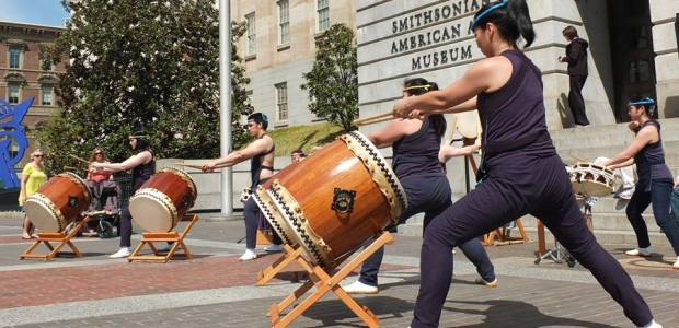 The Smithsonian American Art Museum's Cherry Blossom Celebration kicks off with taiko drumming at 11:30 a.m. on Saturday. (Photo: Bruce Guthrie)
