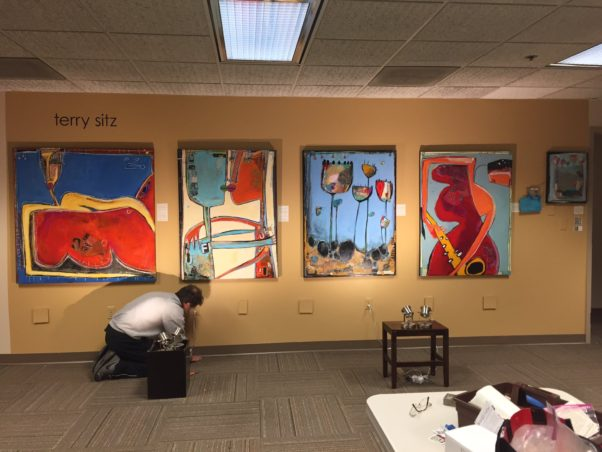 Artist Terry Sitz prepares his Artomatic display. (Photo: Terry Sitz)