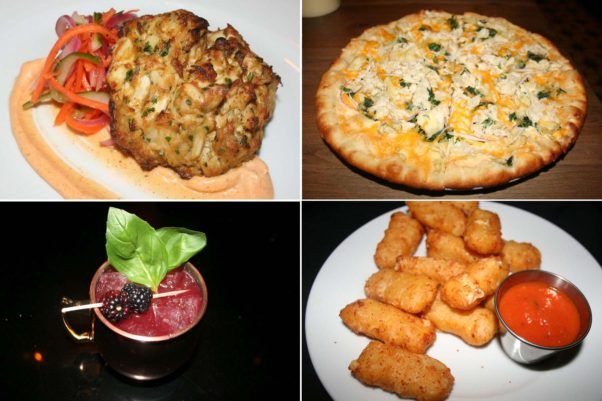 Dishes include the new jumbo lump crab cake (clockwise from top left), the jumbo lump crab brick oven-pizza, mac & cheese bites and a blackberry mule. (Photos: Mark Heckathorn/DC on Heels)