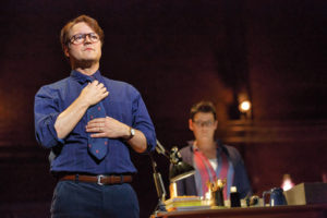 "Robert Petkoff (right) and and Kate Shindle star in ""Fun Home"" at the National Theatre. Photo: Joan Marcus)"