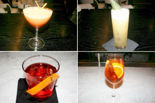 Cocktails include the Garibaldi with fresh squeezed orange juice (clockwise from top left), the Run On with mezcal and pineapple, the Cappelletti Spritz and the house Negroni. (Photos: Mark Heckathorn/DC on Heels)