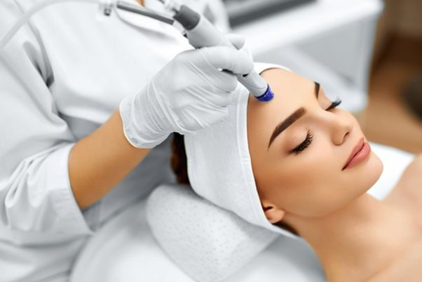 woman getting dermabrasion