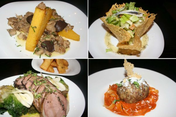 Dishes include oyster mushroom polenta with black truffles (clockwise from top left), caesar salad with anchovies in a parmesan bowl, fettucini meatball bolognese and leg of lamb with escarole and chickpea fritters. (Photos: Mark Heckathorn/DC on Heels)