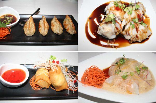 Some of Bangkok Joe's dumpling bar dishes include winter squash potsickers (clockwise from top left), pak mor chicken dumplings, lobster 'n shrimp dumplings, and crispy crab finger roll. (Photos: Mark Heckathorn/DC on Heels)