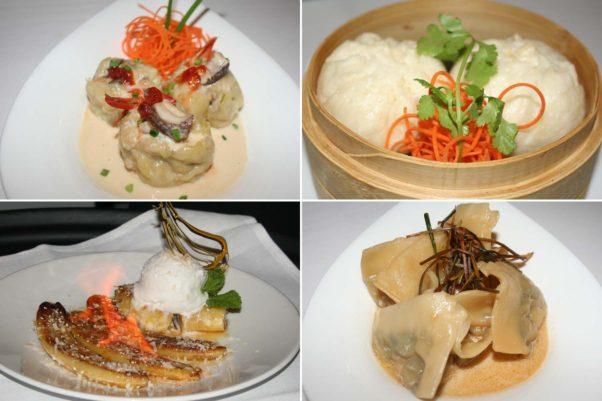 Other options include steamed shrimp dumplings (clockwise from top left), Panang chicken buns, mushroom 'n ginger dumplings and  flambé Thai banana for dessert. (Photos: Mark Heckathorn/DC on Heels)