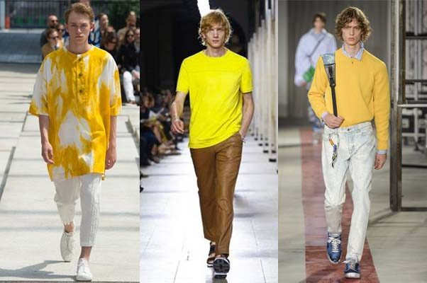 Yellow is the color of the season in tops, pants, shorts and coats. (Photos: Issey Miyake/Hermes/MSGM)