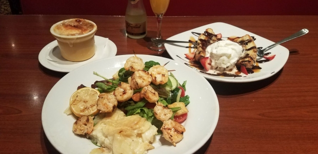 Mimi's Cafe is offering a three-course meal for $18.99 includig this French onion soup (from lef), fire grilled shrimp brochette with baked cheesy gratin potatoes and house salad, and a seasonal muffin sundae. Add a mini-mosa for $5. (Photo: Mark Heckathorn/DC on Heels)