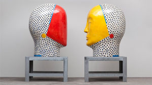 Sculptures by artist Jun Kaneko on display through Monday at the Kennedy Center. (Photo: Kennedy Center)