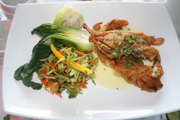 Soft shell crab sdinner with carrot mango slaw and garlic bok choy isn't crispy as advertised. (Photo; Mark Heckathorn/DC on Heels)