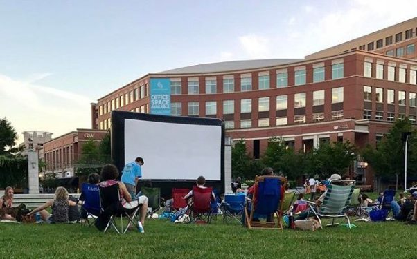 Saturday Cinema at Carlyle will bring an outdoor movie to John Carlyle Square Park the first Saturday of the month from July through October. (Photo: Visit Alexandria)