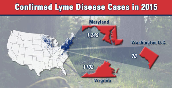 More than 2,300 cases of Lyme disease were reported in D.C., Maryland and Virginia in 2015, according to the CDC. (Graphic: American Pest)