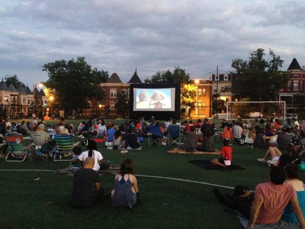 Movies are shown on the Harriet Tubman Elementary School athletic field in Columbia Heights every Friday in June. (Photo: Columbia Heights Initiative/Facebook)