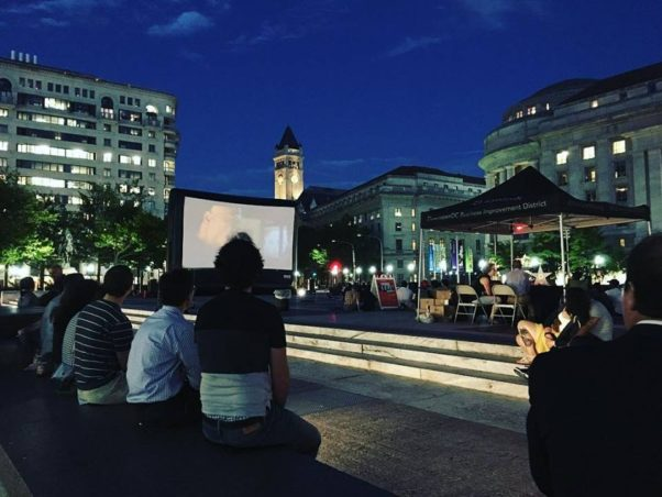 Can I Kick IT? on Freedom Plaza features a martical arts film set to hip hop Tuesdays in  June and July. (Downtown D.C. BID/Facebook)